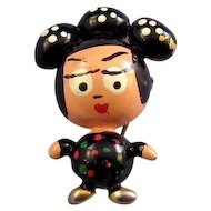 Tiny 'Puffed' Japanese Geisha Figural Pin