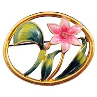 Coro Pink Flower Pin in an Oval Frame