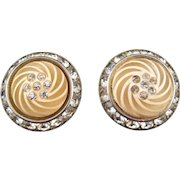 Coro Plastic and Rhinestone Round 'Button' Style Earrings