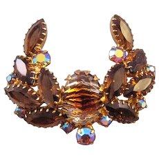 Rhinestone Laurel Wreath Style Pin in Brown Autumn Tones