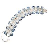 Coro Blue Enameled Feathery Link Bracelet