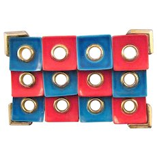 Midcentury 'Op Art' Brooch in Red and Blue
