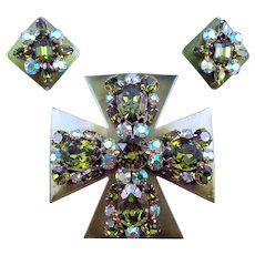 Vintage Enameled Olivine Rhinestone Encrusted Maltese Cross Pin with Matching Earrings