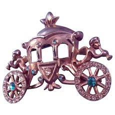 Fairy Tale Carriage Brooch with Musical Cherubs