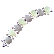 Two Tone Olive Green Moonglow Plastic Bracelet - Teardrop Motif