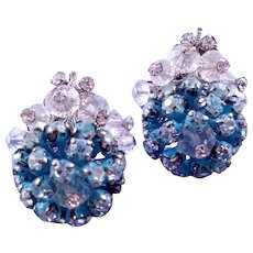 Vendome Blue Cluster Flower Clip Earrings with Rhinestones and Beads