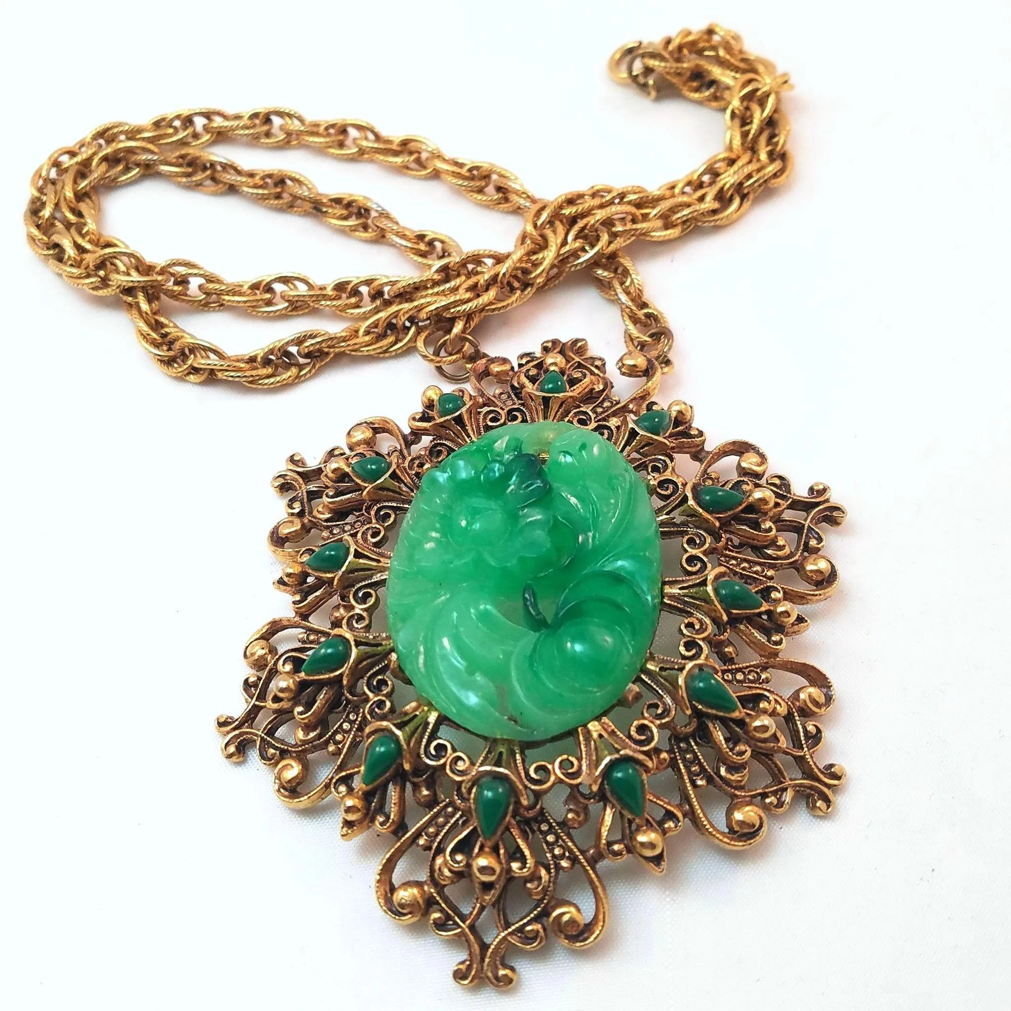 expand setting pendant carved faux jade to filigree florenza full vintage necklace in click item