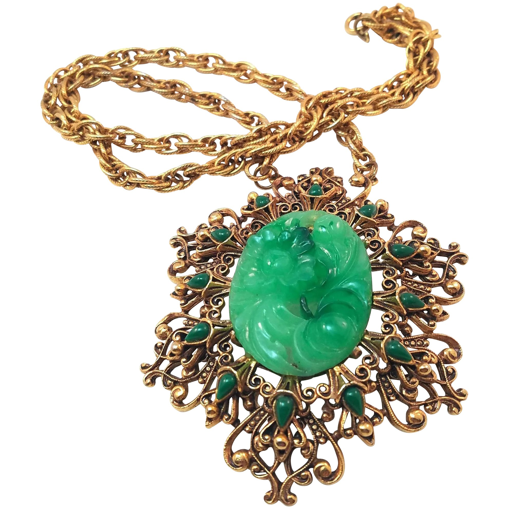 Florenza vintage faux carved jade pendant necklace in filigree florenza vintage faux carved jade pendant necklace in filigree setting click to expand aloadofball Gallery