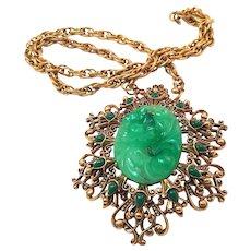 Florenza Vintage Faux Carved Jade Pendant Necklace in Filigree Setting