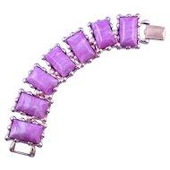 Vintage Coro Lavender Plastic Goldtone Link Bracelet