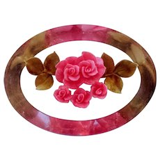 Lucite Reverse Carved and Painted Pink Rose Bouquet Oval Brooch