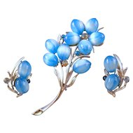 Enchanting Coro Brooch Set with Pale Blue 'Cat's Eye' Undrilled Beads