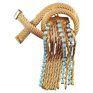 Wire Mesh and Chain / Rhinestone Fringe Brooch
