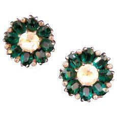 Unsigned Mazer Sterling Flower Clip Earrings with  Unfoiled Deep Green Oval Glass Stones