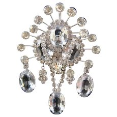 Vendome Large Clear Rhinestone Dangle Brooch with Large Oval Stones