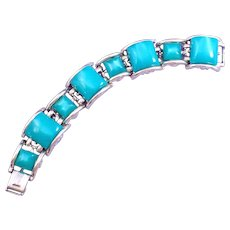 Green Moonglow Square Beveled Cabochon Plastic Link Bracelet