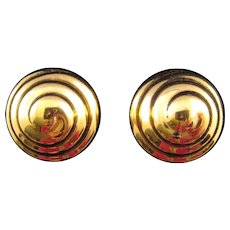 Trifari 'Bee Hive' Goldtone Clip Earrings