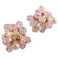 D&E aka Juliana Clear Rhinestone and Crystal Bead Dangle Earrings