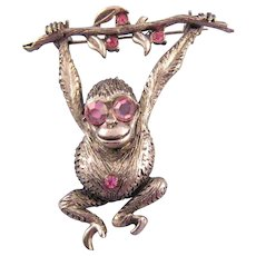 Thelma Deutsch Silvertone Swingin' Monkey Pin