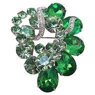 Vintage Eisenberg Ice Rhinestone Brooch in Shades of Green