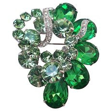 Vintage Eisenberg Ice Rhinestone Brooch in Shades of Green