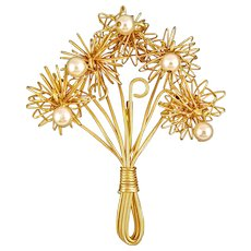Vintage Wire Flower Brooch with Dangling Faux Pearls