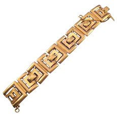 Monet Textured Goldtone Link Bracelet - Geometric Design
