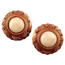 Engraved Copper and Plastic Glitter Cabochon Clip Earrings