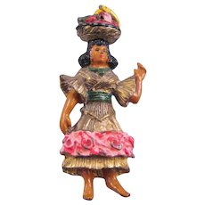 Enameled Mexican Senorita Pin with Fruit Basket