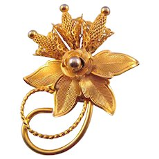 Hobe Curlique Goldtone Flower Brooch with Mesh Flowers