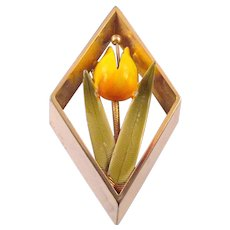 Brightly Enameled Tulip Brooch - in a Diamond Shaped Frame