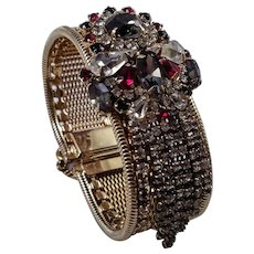 Unsigned Hobe Rhinestone and Mesh Bracelet with Rhinestone Fringe Embellishment