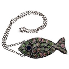 Vintage Hollycraft Mod Pendant Pastel Fish Necklace