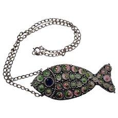 Vintage Hollycraft Mod Pendant Pastel Fish Necklace