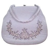 1950s Large Beaded White Evening Bag with Pastel Flower Design