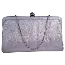 Metallic Silver Evening Bag with Fancy Clasp and Chain Handle