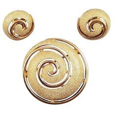 Trifari Vintage Goldtone Whirlpool Brooch and Earrings