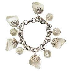 Vintage Clear Plastic Lucite Silvertone Charm Bracelet