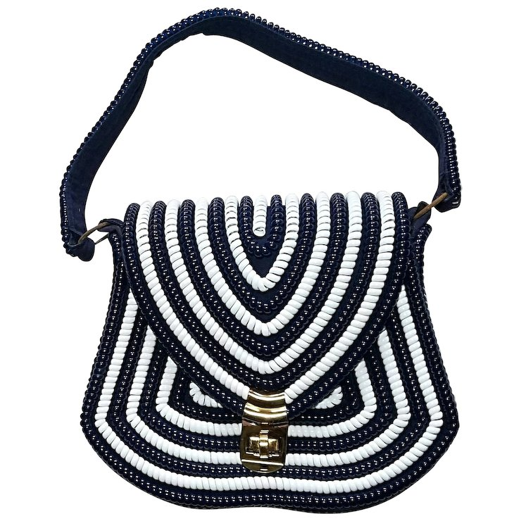 Vintage Telephone Cord Purse Handbag 1950s Blue And White