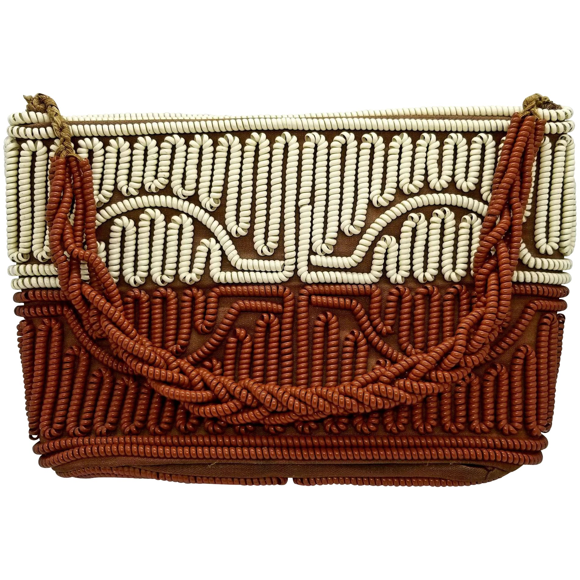 Vintage Telephone Cord Purse Handbag 1950s Brown And Cream Click To Expand