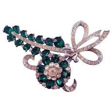 Vintage Silvertone Green Rhinestone Flowers 'n Bows Bouquet Brooch