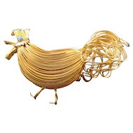 Goldtone Woven Wire Figural Rooster Brooch