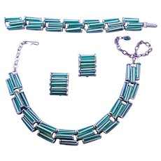 Green and White Striped 'Candy' Glass Necklace Bracelet and Earring Set