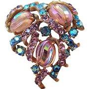 Vintage Schiaparelli Shimmering Rhinestone Pin with Aurora Borealis Molded Cabochons