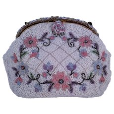 Vintage 1950s Intricately Beaded Floral Evening Bag Made in France