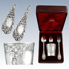 Antique French Sterling Silver and Vermeil Tumbler - Flatware Set
