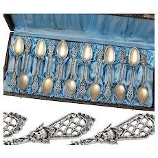 Boxed German .800 Silver & Vermeil 12pc Coffee or Tea Spoons with Cherubs