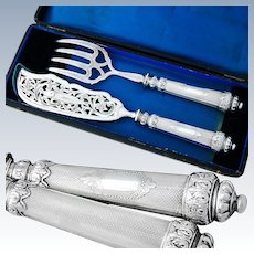 Boxed French Sterling Silver 2pc Fish Server Set - Guilloche style pattern