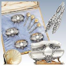 Ravinet d'Enfert: French Sterling Silver & Vermeil Open Salt Cellars and Salt Spoons