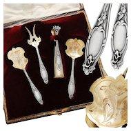 Boxed French Silver & Vermeil 4pc Hors d'Oeuvre Set - Art Nouveau pattern
